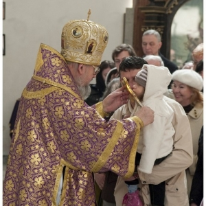 Pierwsza liturgia w nowej cerkwi (2009)